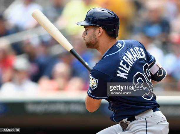 Kevin Kiermaier of the Tampa Bay Rays hits an RBI single against the Minnesota Twins during the second inning of the game on July 15 2018 at Target...