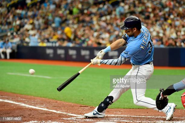 Kevin Kiermaier of the Tampa Bay Rays hits an RBI triple off of Griffin Canning of the Los Angeles Angels of Anaheim in the second inning of a...