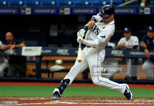 Kevin Kiermaier of the Tampa Bay Rays hits in the fourth inning during a game against the Toronto Blue Jays at Tropicana Field on May 27 2019 in St...