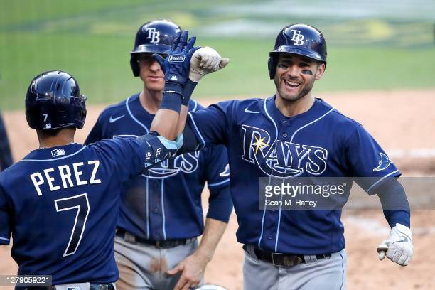Kevin Kiermaier of the Tampa Bay Rays is congratulated by Michael Perez after hitting a three run home run against the New York Yankees during the...