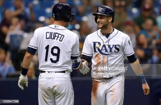 Kevin Kiermaier of the Tampa Bay Rays is congratulated by Nick Ciuffo after scoring in the sixth inning of a baseball game against the Oakland...