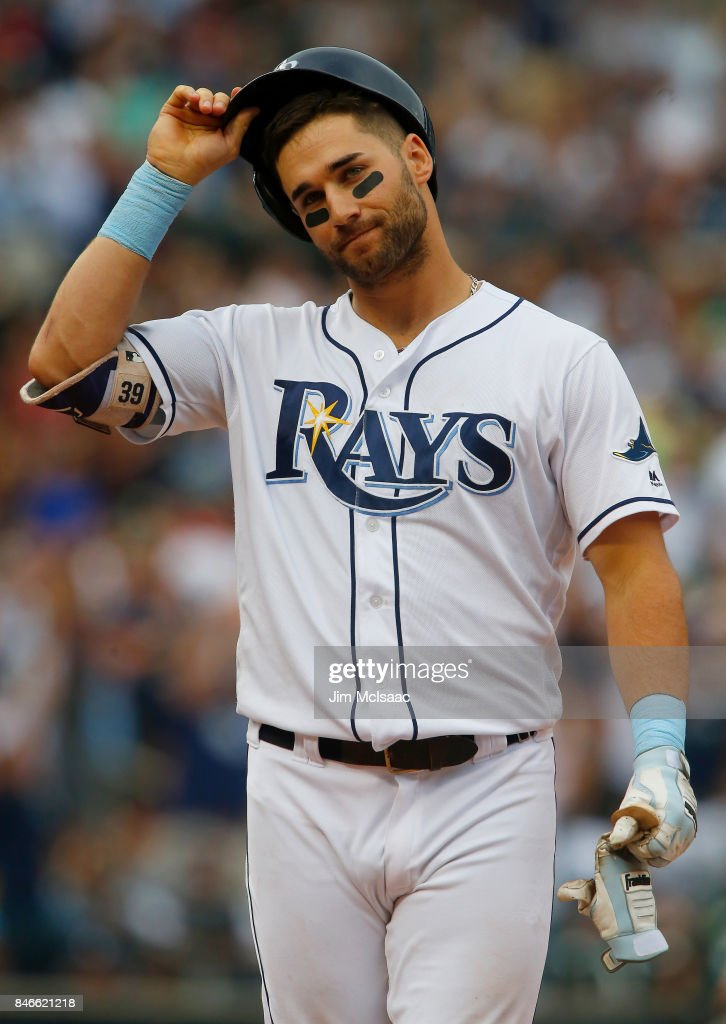 Kevin Kiermaier #39 of the Tampa Bay Rays looks on after flying out to end the seventh inning against the New York Yankees at Citi Field on September 13, 2017 in the Flushing neighborhood of the Queens borough of New York City. The two teams were scheduled to play in St. Petersburg, Florida but due to the weather emergency caused by Hurricane Irma, the game was moved to New York, but with Tampa Bay remaining the 'home' team.