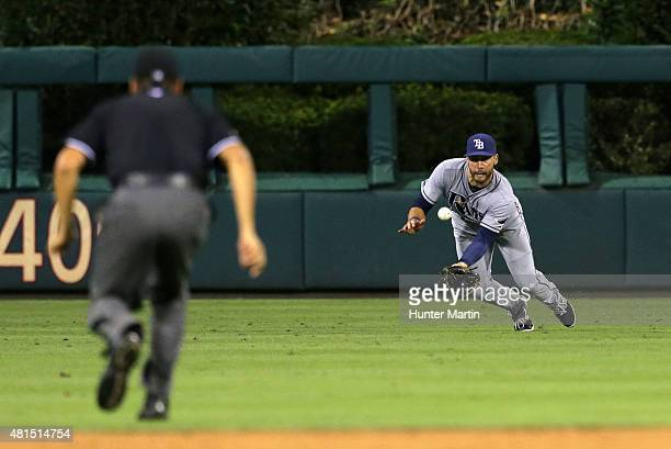 Kevin Kiermaier of the Tampa Bay Rays makes a diving catch in the fifth inning during a game against the Philadelphia Phillies at Citizens Bank Park...