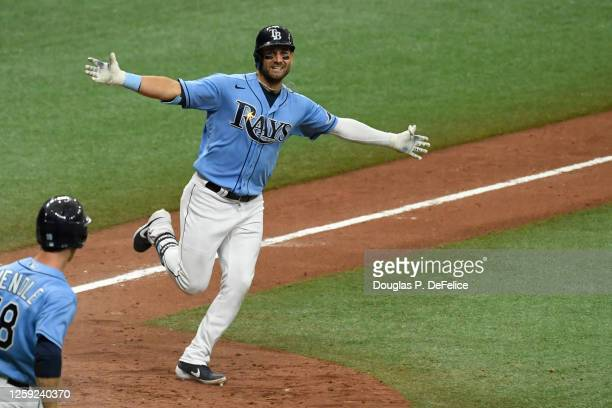Kevin Kiermaier of the Tampa Bay Rays reacts after hitting a game winning triple to defeat the Toronto Blue Jays 6-5 in the 10th inning at Tropicana...
