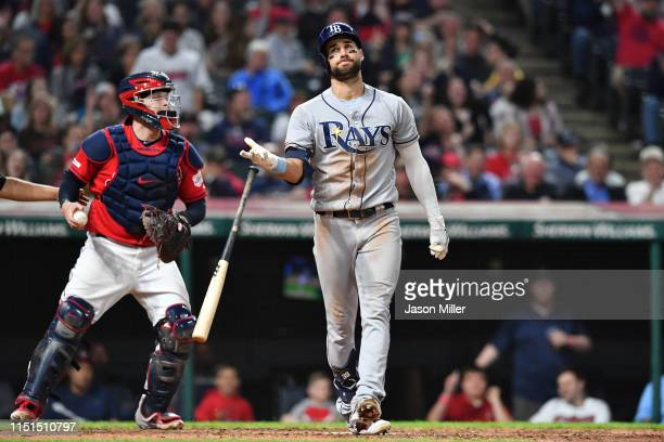 Kevin Kiermaier of the Tampa Bay Rays reacts after striking out to end the top of the eighth inning against the Cleveland Indians at Progressive...