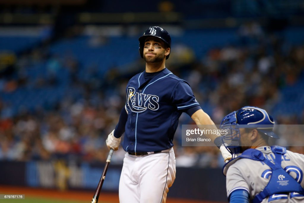 Kevin Kiermaier #39 of the Tampa Bay Rays reacts to a ball in front of catcher Luke Maile #22 of the Toronto Blue Jays during the eighth inning of a game on May 6, 2017 at Tropicana Field in St. Petersburg, Florida.