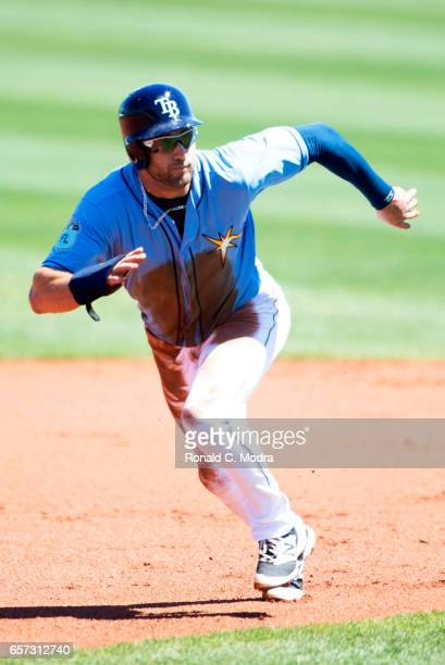 Kevin Kiermaier of the Tampa Bay Rays runs to second base during a spring training game against the Pittsburgh Pirates at Charlotte Sports Park on...