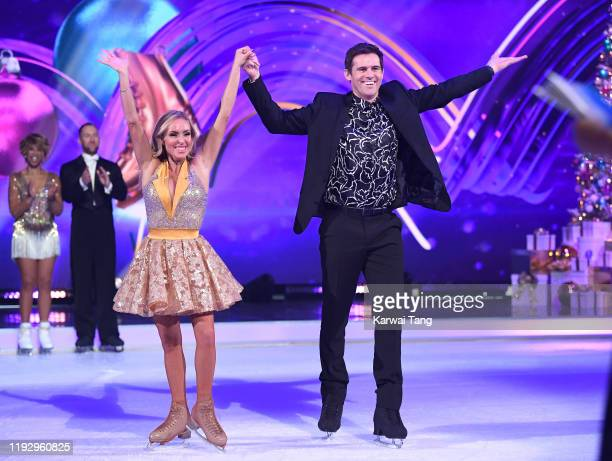 Kevin Kilbane and Brianne Delcourt during the Dancing On Ice 2019 photocall at the Dancing On Ice Studio ITV Studios Old Bovingdon Airfield on...