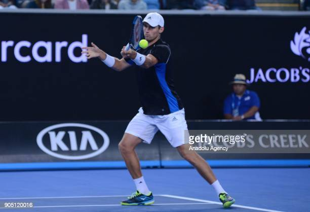 Kevin King of the United States in action against JoWilfried Tsonga of France on day one of the 2018 Australian Open at Melbourne Park on January 15...