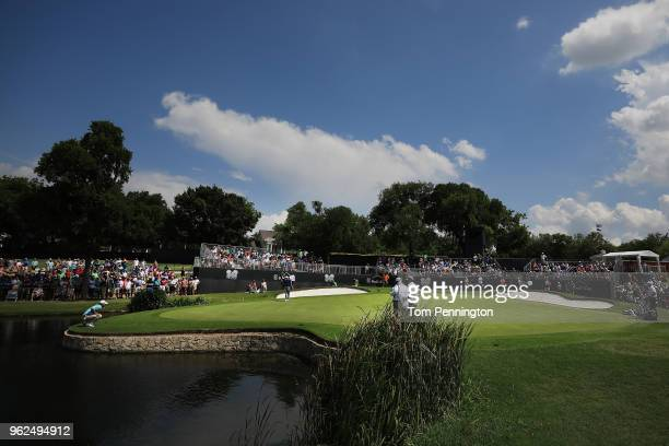 Kevin Kinser lines up a putt on the ninth green during round two of the Fort Worth Invitational at Colonial Country Club on May 25, 2018 in Fort...
