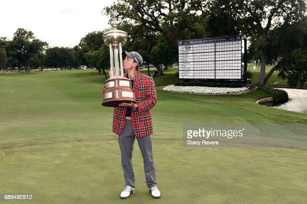 Kevin Kisner celebrates with the Leonard Trophy after winning the DEAN DELUCA Invitational on May 28 2017 in Fort Worth Texas