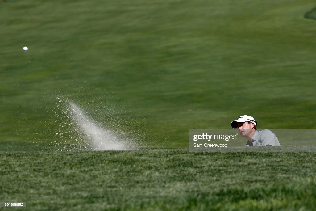 Kevin Kisner hits from a bunker on the 12th hole during the second round of the Memorial Tournament at Muirfield Village Golf Club on June 2, 2017 in Dublin, Ohio.
