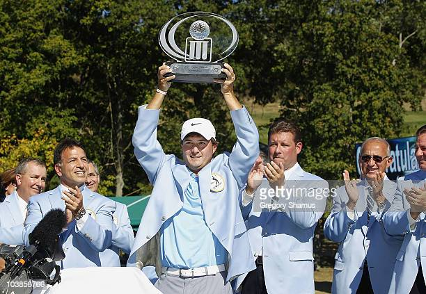 Kevin Kisner holds the trophy after winning the Mylan Classic presented by CONSOL Energy at Southpointe Golf Club on September 5, 2010 in Canonsburg,...