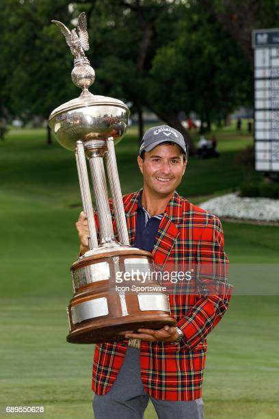 Kevin Kisner holds the winners trophy after the final round of the PGA Dean Deluca Invitational on May 28 2017 at Colonial Country Club in Fort Worth...