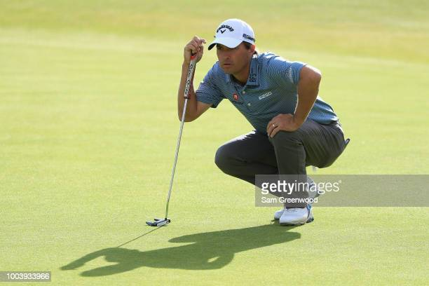 Kevin Kisner of the United States lines up a putt on the 18th green during the final round of the 147th Open Championship at Carnoustie Golf Club on...
