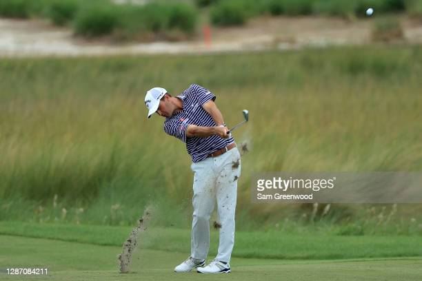 Kevin Kisner of the United States plays a shot on the 13th hole during the final round of The RSM Classic at the Seaside Course at Sea Island Golf...