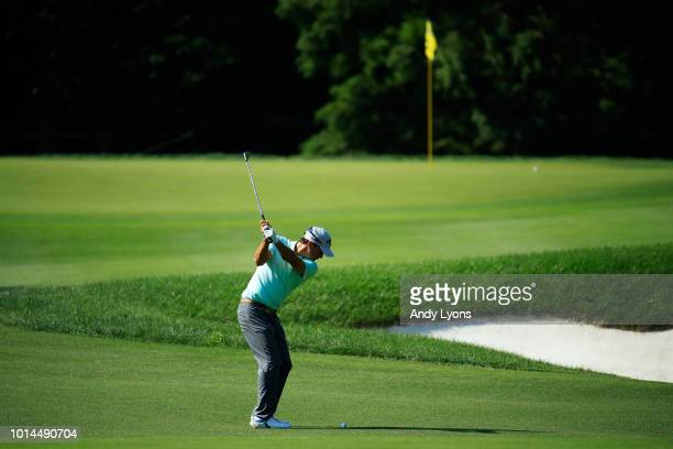 Kevin Kisner of the United States plays a shot on the 17th hole during the second round of the 2018 PGA Championship at Bellerive Country Club on...