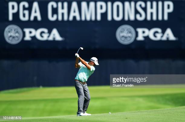 Kevin Kisner of the United States plays a shot on the 18th hole during the second round of the 2018 PGA Championship at Bellerive Country Club on...