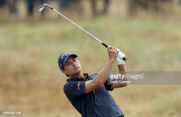 Kevin Kisner of the United States plays his second shot on the 18th hole during the third round of the 147th Open Championship at Carnoustie Golf...