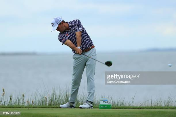 Kevin Kisner of the United States plays his shot from the 14th tee during the final round of The RSM Classic at the Seaside Course at Sea Island Golf...
