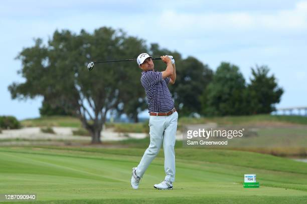Kevin Kisner of the United States plays his shot from the 16th tee during the final round of The RSM Classic at the Seaside Course at Sea Island Golf...