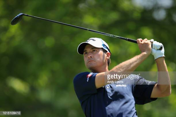 Kevin Kisner of the United States plays his shot from the second tee during the third round of the 2018 PGA Championship at Bellerive Country Club on...