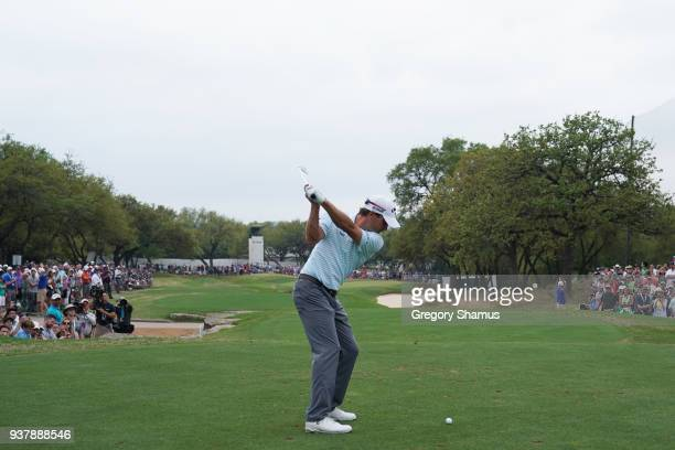 Kevin Kisner of the United States plays his shot from the seventh tee during his final round match against Bubba Watson of the United States in the...