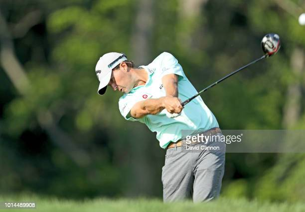 Kevin Kisner of the United States plays his tee shot on the 12th hole during the second round of the 100th PGA Championship at the Bellerive Country...