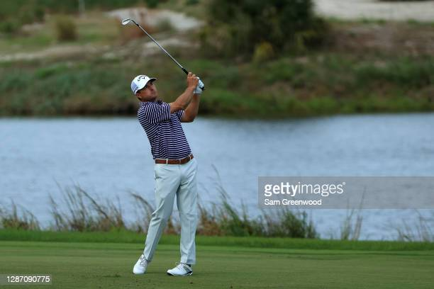 Kevin Kisner of the United States plays his third shot on the 15th hole during the final round of The RSM Classic at the Seaside Course at Sea Island...