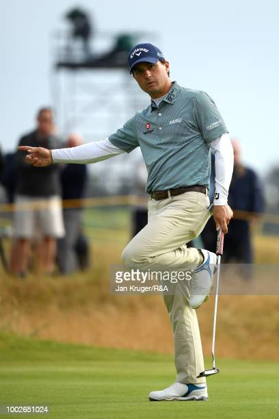 Kevin Kisner of the United States reacts on the 15th green during round two of the Open Championship at Carnoustie Golf Club on July 20 2018 in...