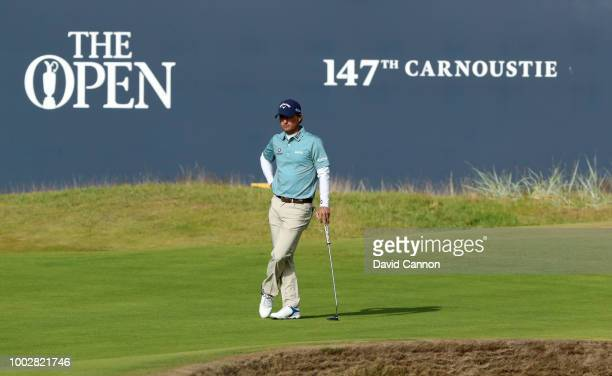 Kevin Kisner of the United States waits to putt on the 18th hole during the second round of the 147th Open Championship at Carnoustie Golf Club on...