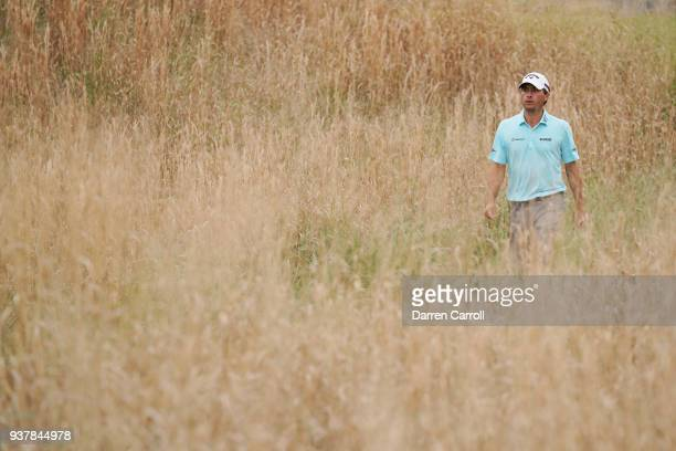 Kevin Kisner of the United States walks on the 16th hole during his semifinal round match against Alexander Noren of Sweden in the World Golf...