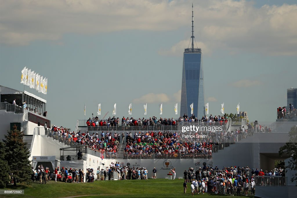 Kevin Kisner of the U.S. Team plays a shot on the first tee during Friday four-ball matches of the Presidents Cup at Liberty National Golf Club on September 29, 2017 in Jersey City, New Jersey.