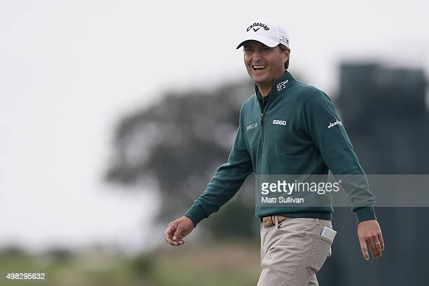 Kevin Kisner reacts as he approaches the 7th green on the Seaside Course during the final round of The RSM Classic on November 22 2015 in St Simons...