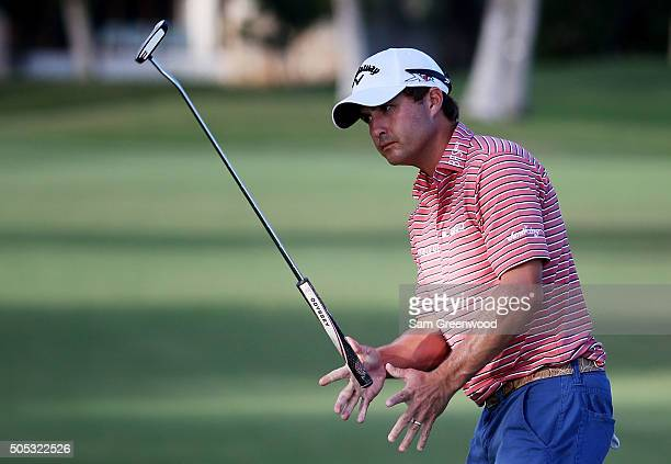 Kevin Kisner reacts to a missed putt on the 16th green during the third round of the Sony Open In Hawaii at Waialae Country Club on January 16 2016...