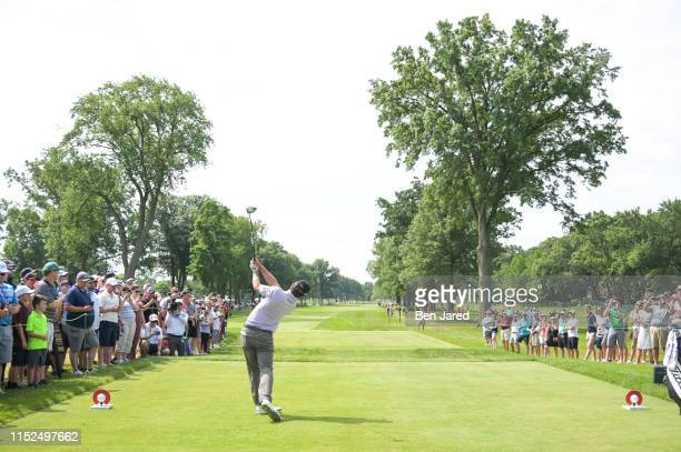 Kevin Kisner tees off on the sixth tee during the first round of the Rocket Mortgage Classic at Detroit Golf Club on June 27, 2019 in Detroit,...