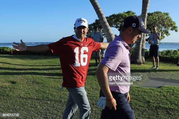 Kevin Kisner wears a Alabama Crimson Tide football jersey after losing a bet to Justin Thomas over the outcome of the 2018 College Football Playoff...