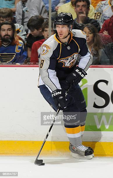 Kevin Klein of the Nashville Predators skates against the St. Louis Blues on April 1, 2010 at the Bridgestone Arena in Nashville, Tennessee.