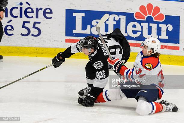 Kevin Klima of the Moncton Wildcats challenges Anthony Boucher of the Blainville-Boisbriand Armada during the QMJHL game at the Centre d'Excellence...