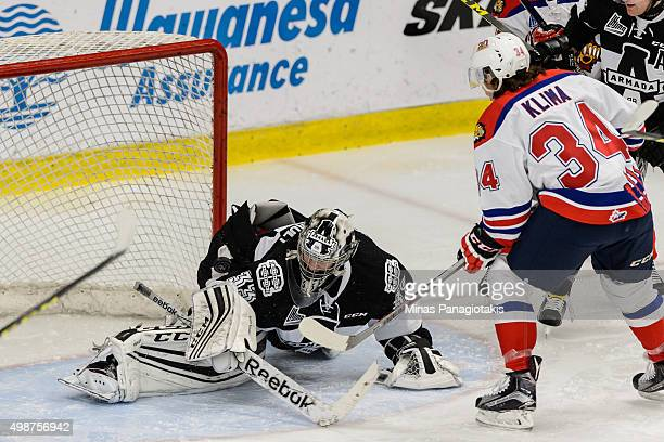 Kevin Klima of the Moncton Wildcats gets a shot on goaltender Samuel Montembeault of the Blainville-Boisbriand Armada during the QMJHL game at the...