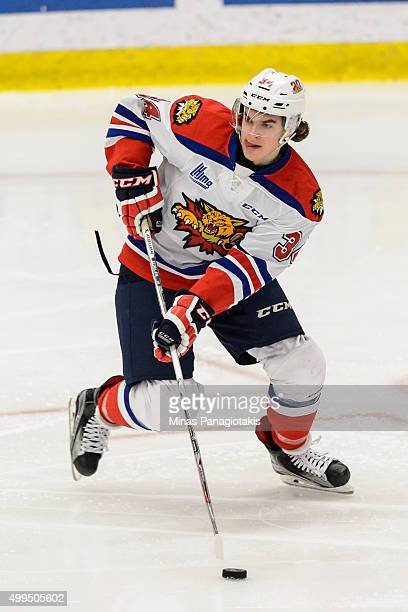 Kevin Klima of the Moncton Wildcats skates with the puck during the QMJHL game against the Blainville-Boisbriand Armada at the Centre d'Excellence...