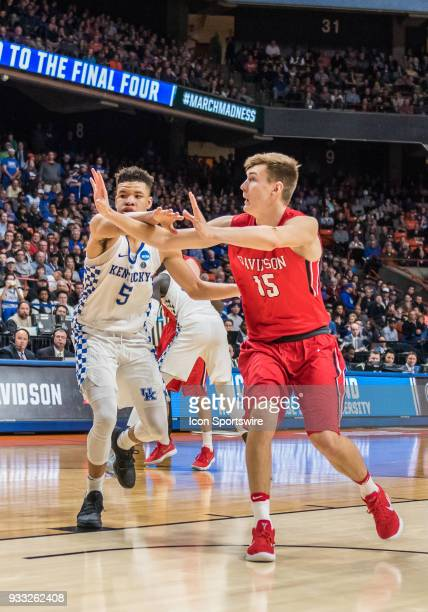 Kevin Knox of the Kentucky Wildcats anticipates a pass to F Oskar Michelsen of the Davidson Wildcats during the NCAA Division I Men's Championship...