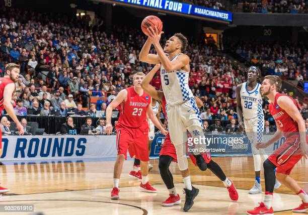 Kevin Knox of the Kentucky Wildcats breaks through the Davidson Wildcats gauntlet and goes up for the basket during the NCAA Division I Men's...