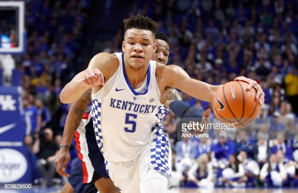 Kevin Knox of the Kentucky Wildcats dribbles the ball against the Ole Miss Rebels during the game at Rupp Arena on February 28 2018 in Lexington...