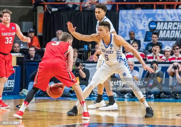 Kevin Knox of the Kentucky Wildcats guards G Jordan Watkins of the Davidson Wildcats during the NCAA Division I Men's Championship First Round game...