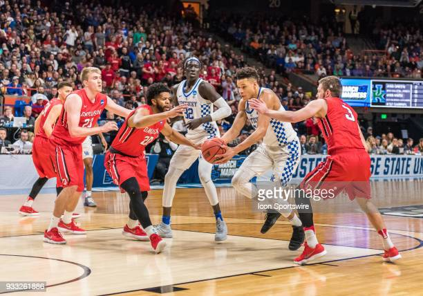 Kevin Knox of the Kentucky Wildcats moves the ball up the lane during the NCAA Division I Men's Championship First Round game between the Kentucky...