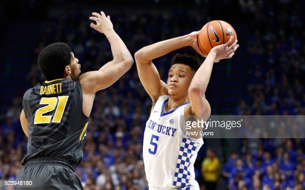 Kevin Knox of the Kentucky Wildcats passes the ball against the Missouri Tigers at Rupp Arena on February 24 2018 in Lexington Kentucky