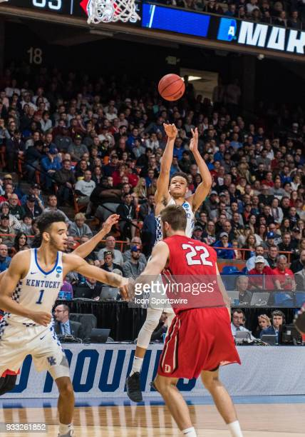 Kevin Knox of the Kentucky Wildcats puts up a jump shot during the NCAA Division I Men's Championship First Round game between the Kentucky Wildcats...