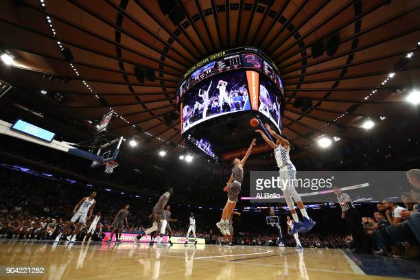 Kevin Knox of the Kentucky Wildcats shoots against the Monmouth Hawks at Madison Square Garden on December 9 2017 in New York City This photo is part...