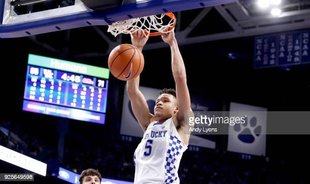 Kevin Knox of the Kentucky Wildcats shoots the ball against the Ole Miss Rebels during the game at Rupp Arena on February 28 2018 in Lexington...